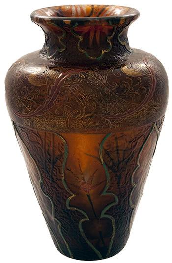 VAS CHRISTIAN DÉSIRÉ 1/4 secol XX Sticlă colorată în masă; suflată liber; suprapusă; decor intercalat; pastă de sticlă presată; pictare manuală cu email şi cu aur coloidal